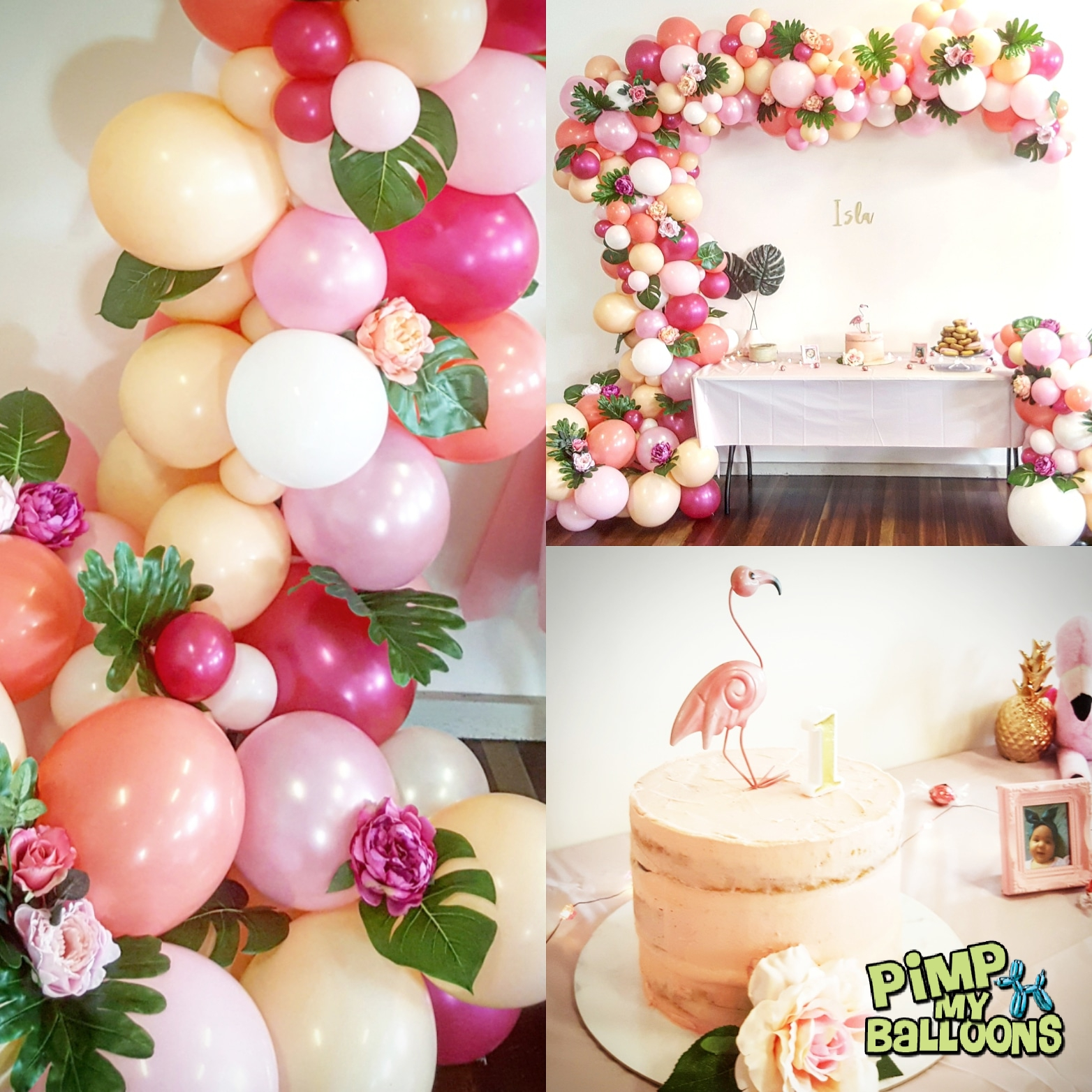 Tropical themed balloon garland