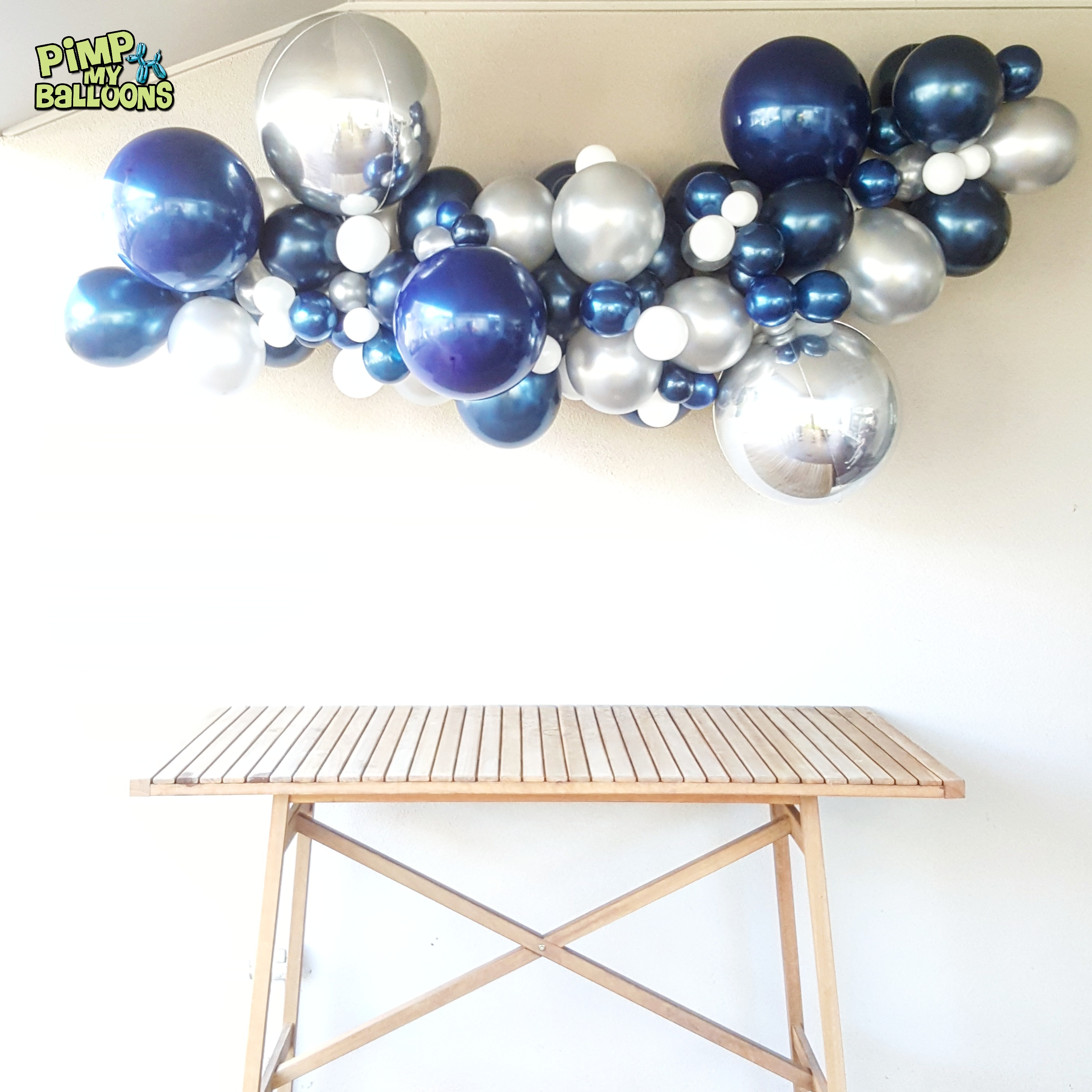Blue and Silver Organic Balloon Garland