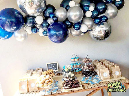 Silver and Blue Organic Balloon Garland