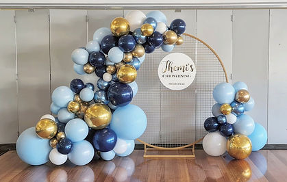 Christening Balloon Garland with backdro