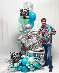 Blue Green Epic birthday balloon bouquet
