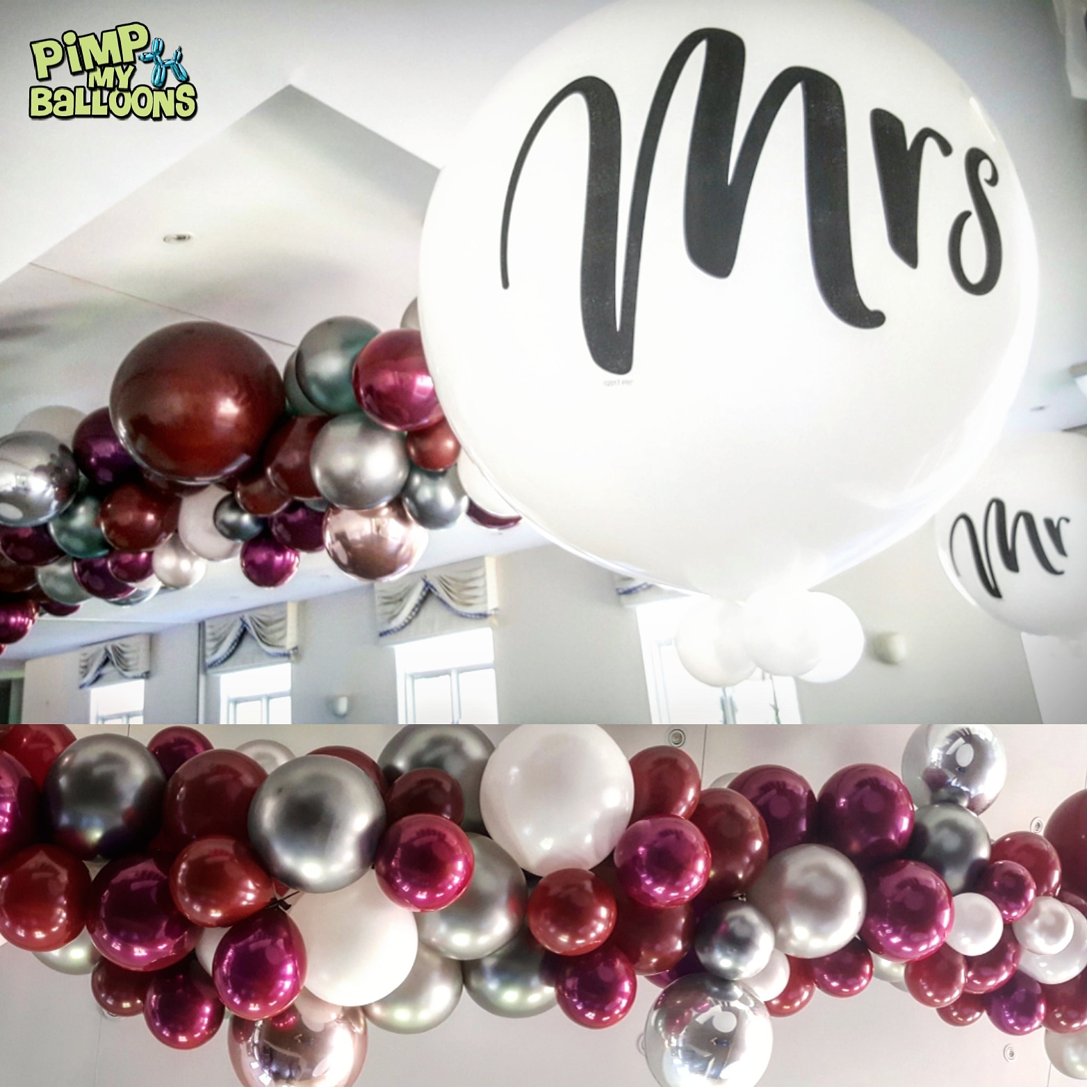 3ft Helium Mr and Mrs Balloons