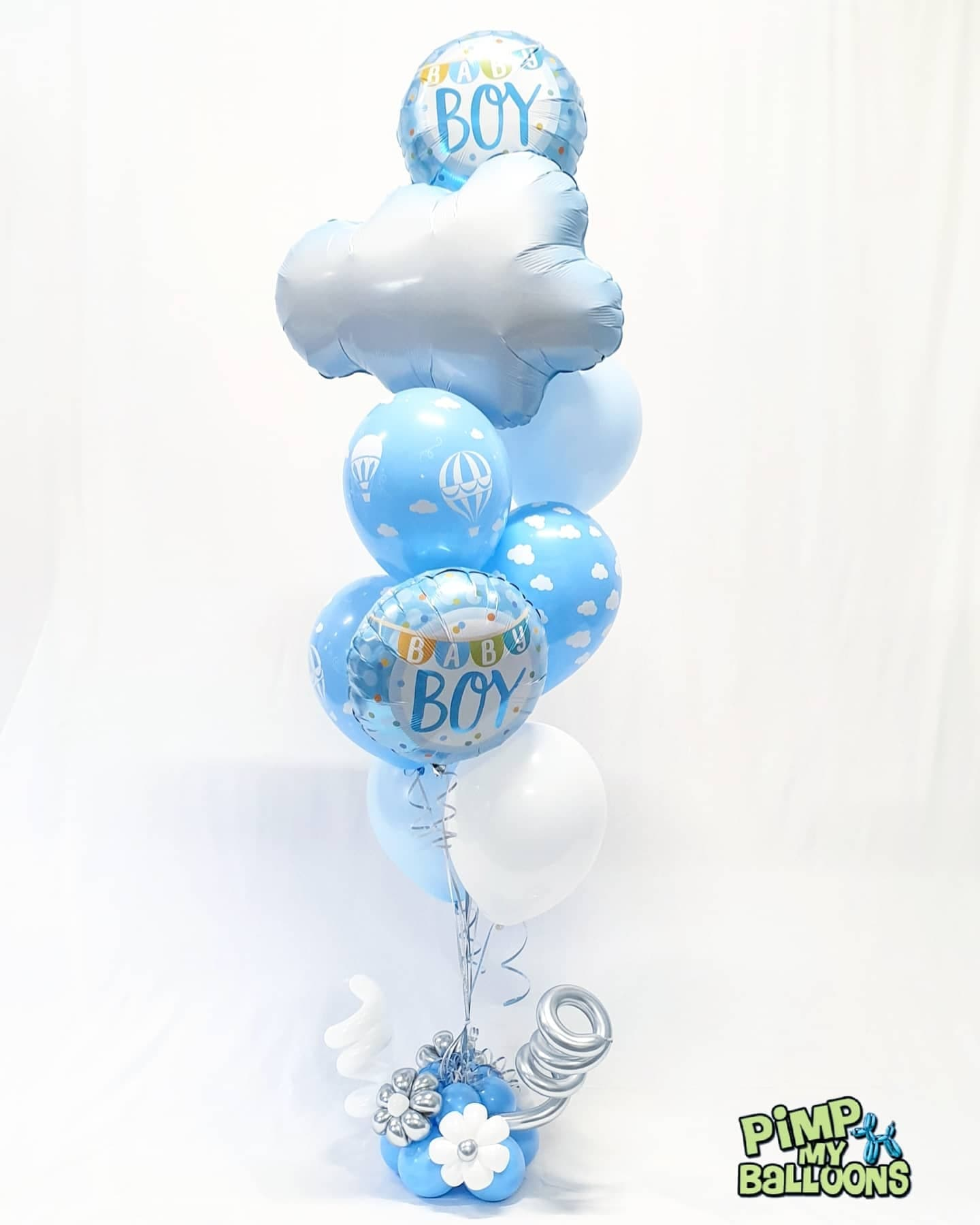 $85 - Baby Boy Bouquet - Clouds and Hot Air Balloons