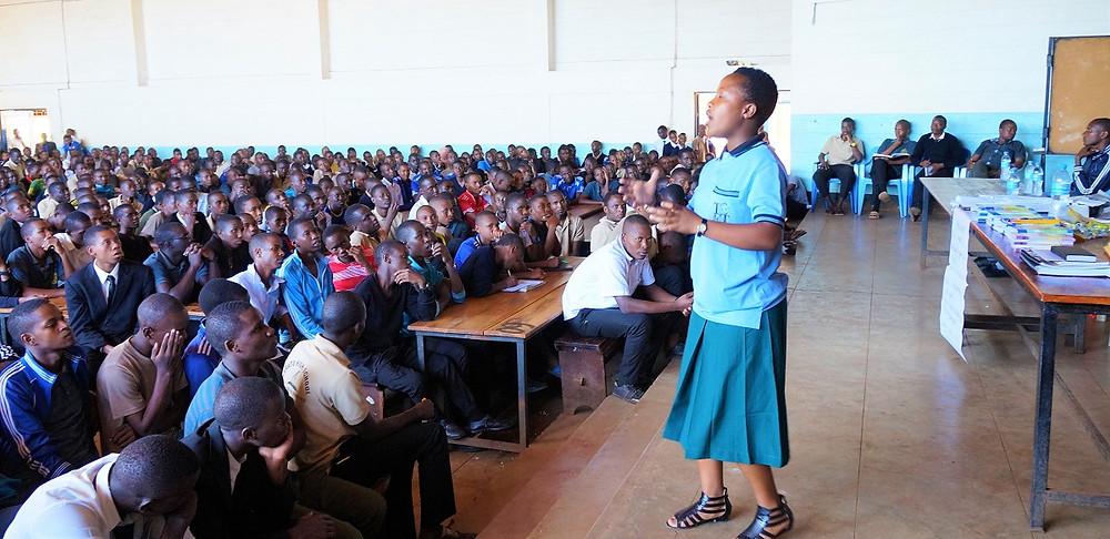 Melanie talking at Karatu Boys High School