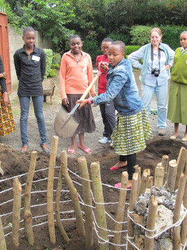 TGFT girls build Key Hole Kitchen Garden at The Girls Center