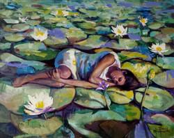 "Fleur de lotus 30"" x 24"" A&H"