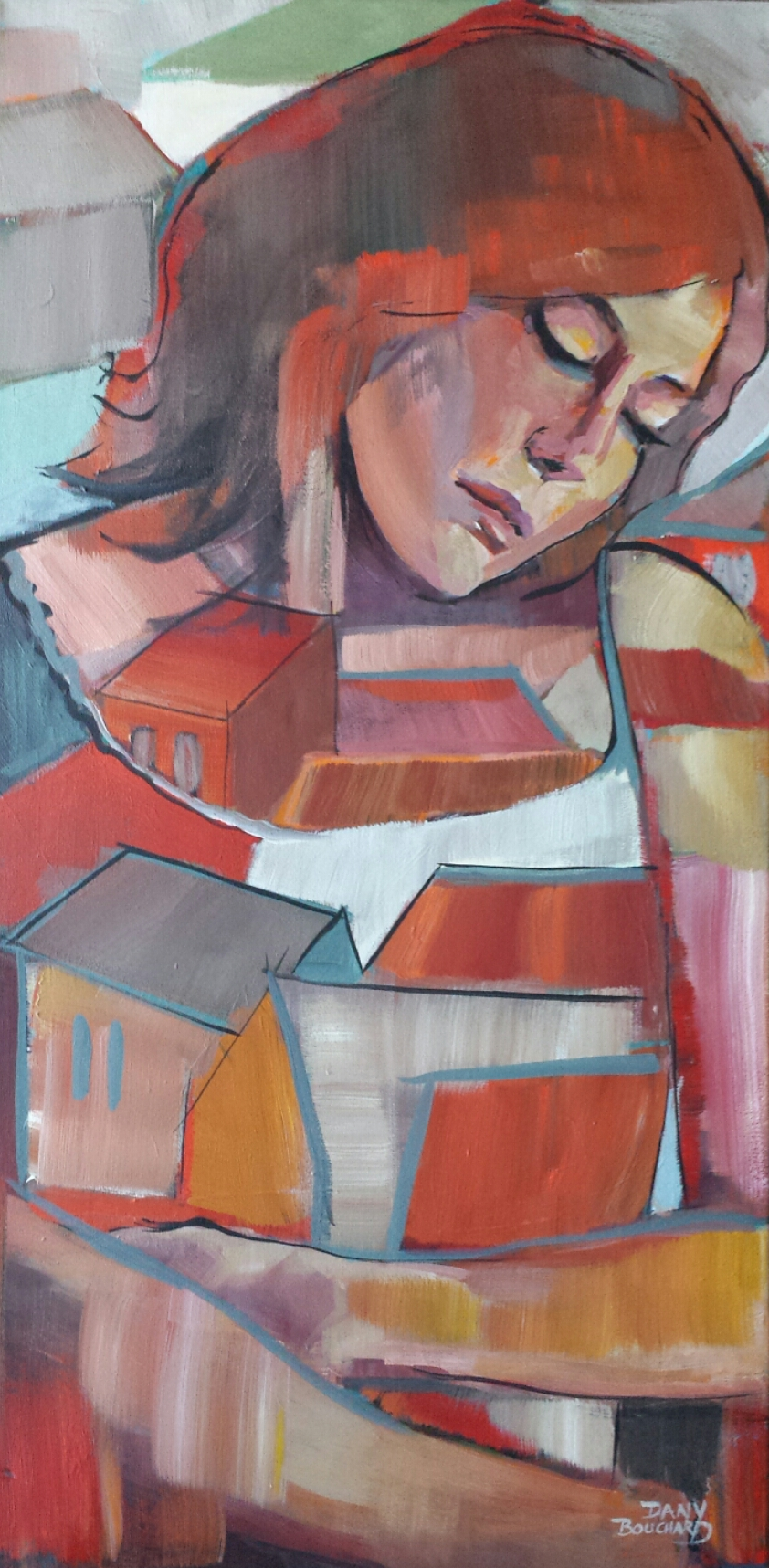 """Compassion 18""""x 36"""" acrylique"""