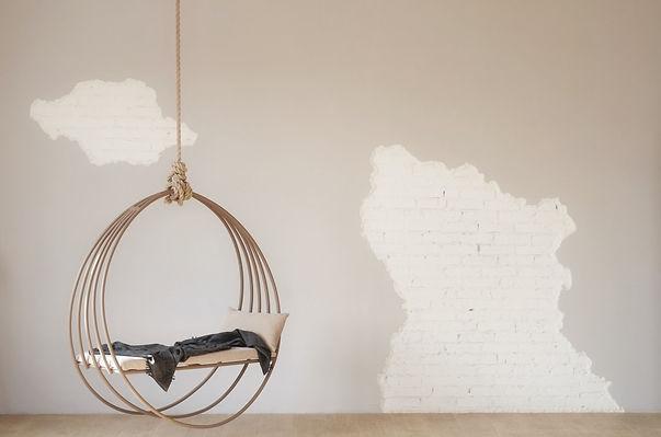 fauteuil suspendu mur brique brut agence dekode deco interieur nantes