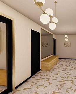 hall immeuble sol carrelage geometrique blanc et dore encadrement porte dore meuble flottant bois opus agence dekode deco interieure nantes