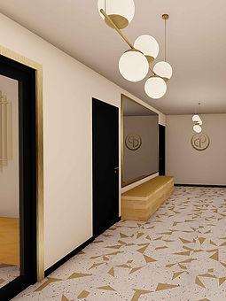 hall immeuble blanc et dore opus agence dekode deco interieur nantes