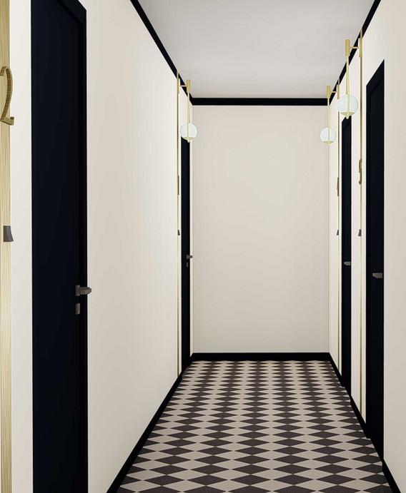 Opus MLK Angers - décoration promotion immobilière - Couloir