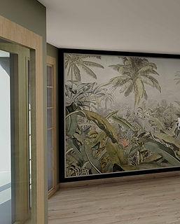 hall immeuble opus lize parquet bois encadrement portes bois et tapisserie vegetale agence dekode deco interieure nantes