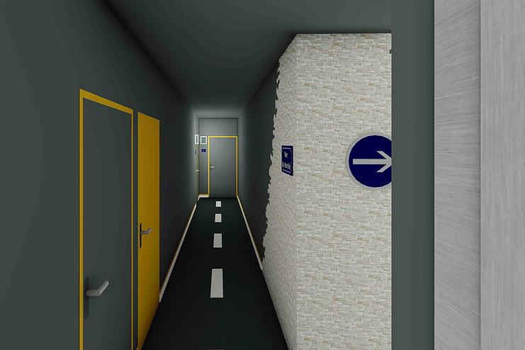 couloir immeuble rue panneaux signalisation esprit urbain opus joxe agence dekode deco interieure nantes