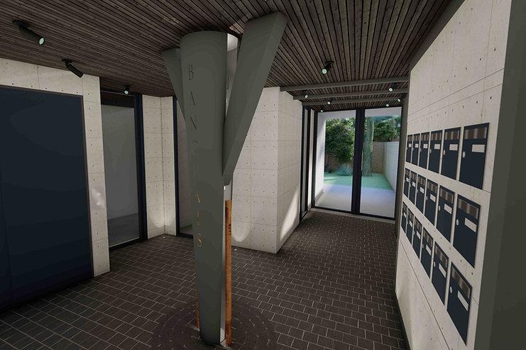 hall immeuble opus banchais avec plafond bois et boites aux lettre metal gris pilier banchais agence dekode deco intérieure nantes