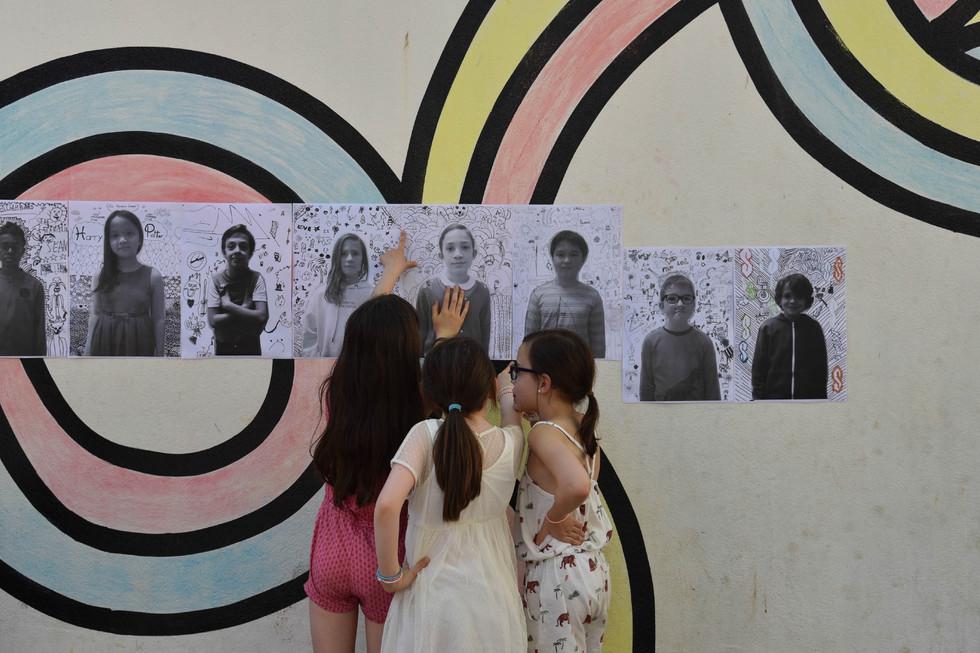 Exposition école Arago, Paris.  Projet: Visages Bizarres, atelier TAP en collaboration avec la Maison du Geste et de L'Image