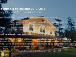 Cena de cambio de collares 2017/2018 del Rotary Club de Mataró-Maresme