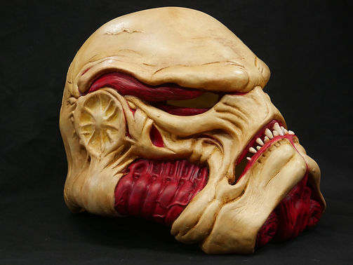 organic storm trooper mask sculpted out of monster clay by cullensworkshop. molded in rebound 25 cast in smoothon 65d.