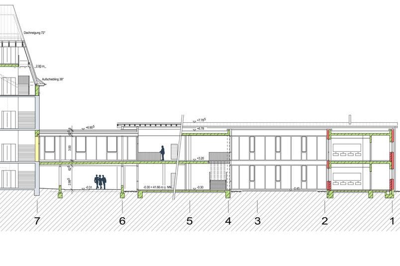 Längsschnitt Erweiterungsgebäude