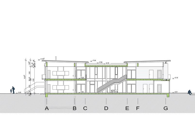 Querschnitt Erweiterungsgebäude