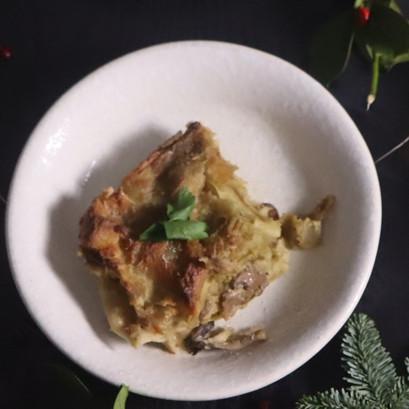 Lasagna con crema di carciofi e funghi