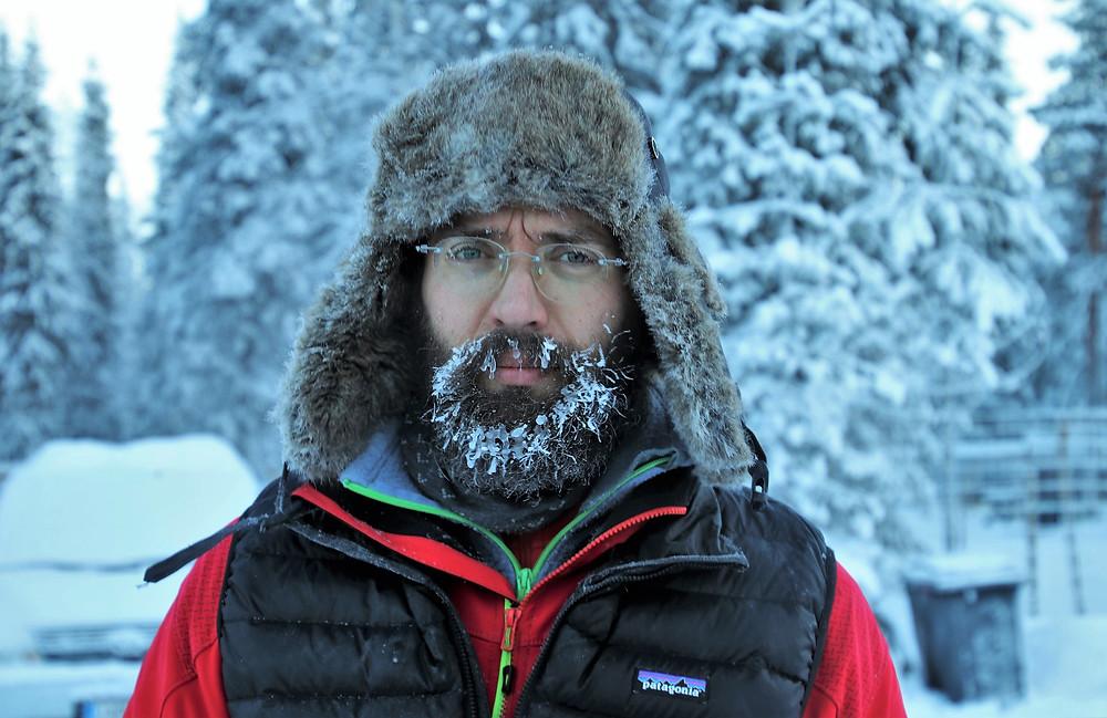 Hace tanto frío que se le congela la barba