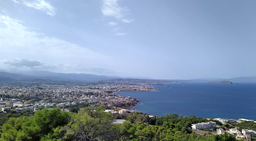 Panorama of Chania from the site of Venizelos' tombs, Akrotiri (Profitis Elias). Photography taken on October, 2020, morning with sunshine and some clouds.