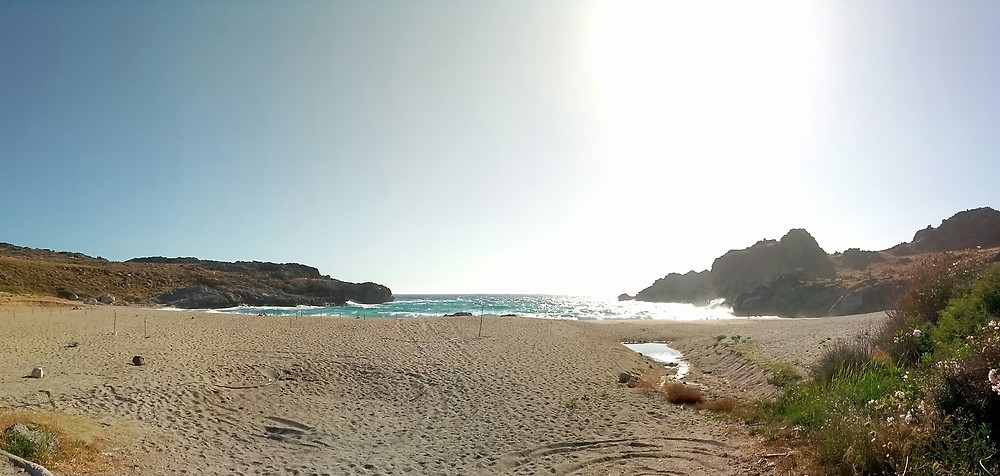 Panoramic view of Skinaria (Schinaria) sandy beach. Photo taken from the South