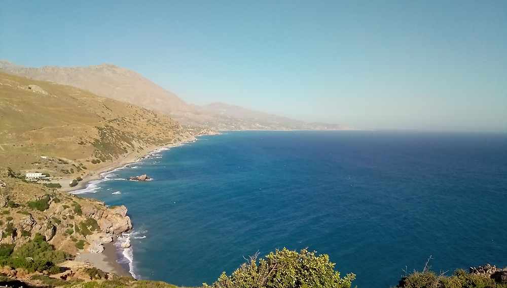 Panoramic view of Preveli gorge and beach. Picture taken in June 2020, from the eastern slope, near the parking area, on the path going downhill to the beach. To the East there is the Monastery of Preveli