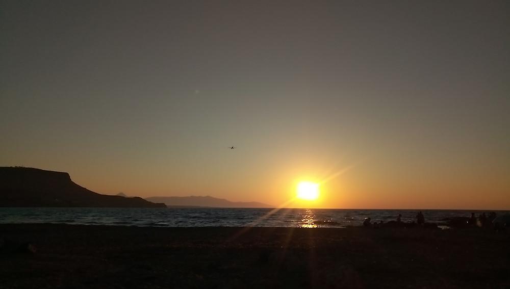 Sunset at Arina beach, Kokkini Chani, Heraklion, Crete, Greece. June 2020