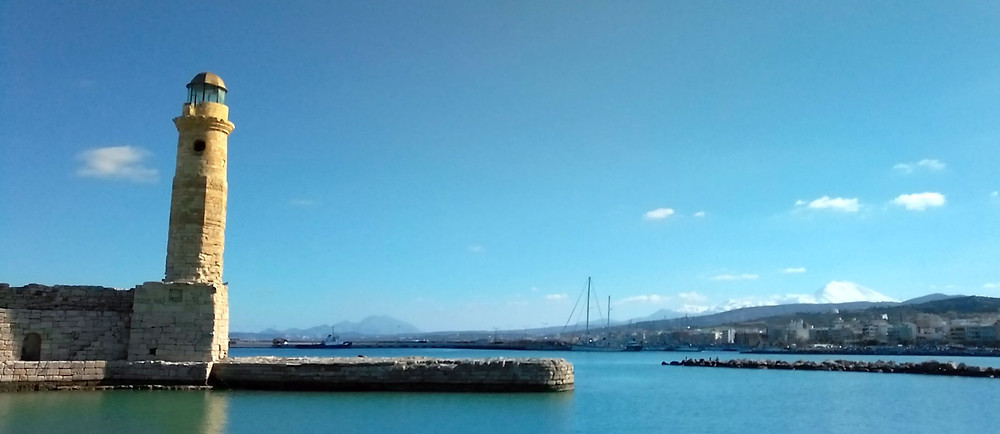 Rethymnon, Crete, Greece, view of the port and the lighthouse on the other side