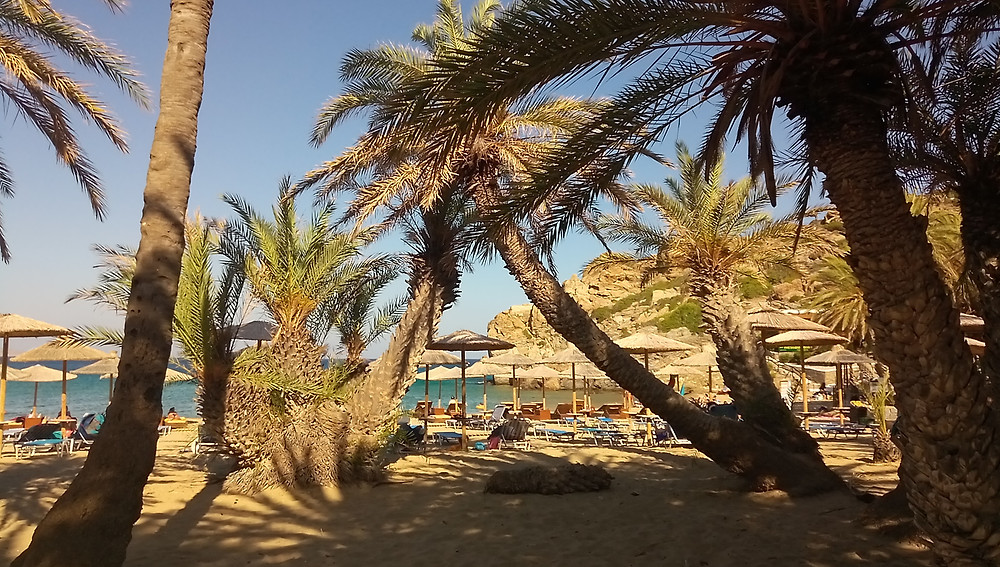 Picture of Vai beach, Sitia area, Lassithi, east Crete. Picture taken in the afternnon, in July 2020, from the west looking to the east, some palms for them is well-known this place, the yellowish sand, umbrellas ans seabeds, and of course the blue sea