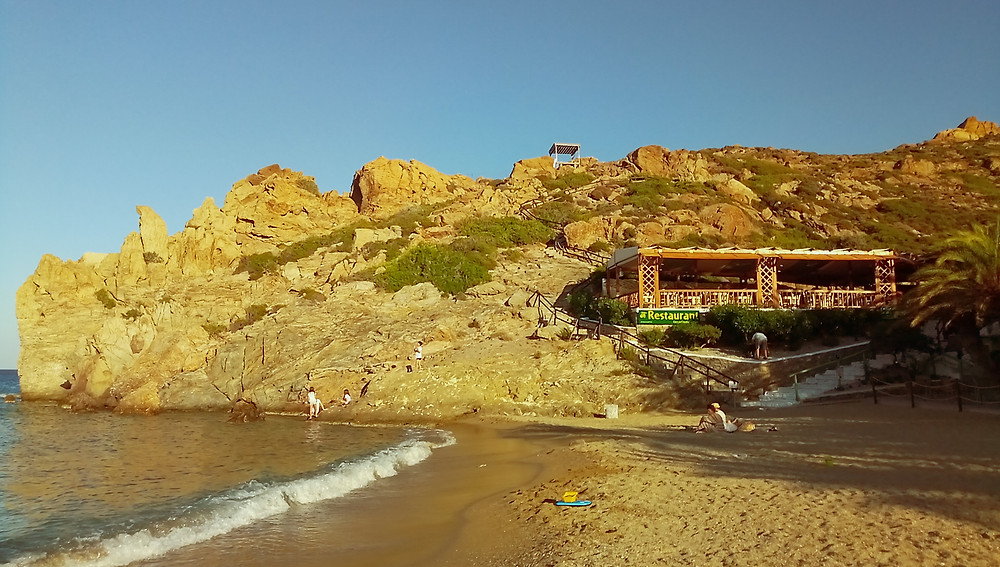 Photo of Vai beach, the southern part and the restaurant above the beach, North - East Crete