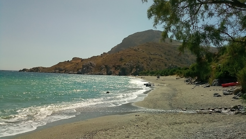 Souda beach (of Plakias). Picture taken form the East, place near a stream with fresh water