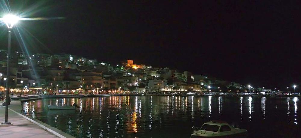 Sitia, Crete, Greece, by night, port, town and Kazarma tower