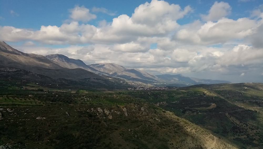View of landscape and the mountain Psiloritis