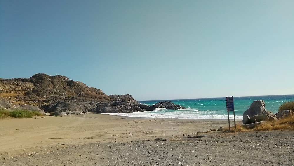 Ammoudi sandy beach. Picture taken from the southwest.