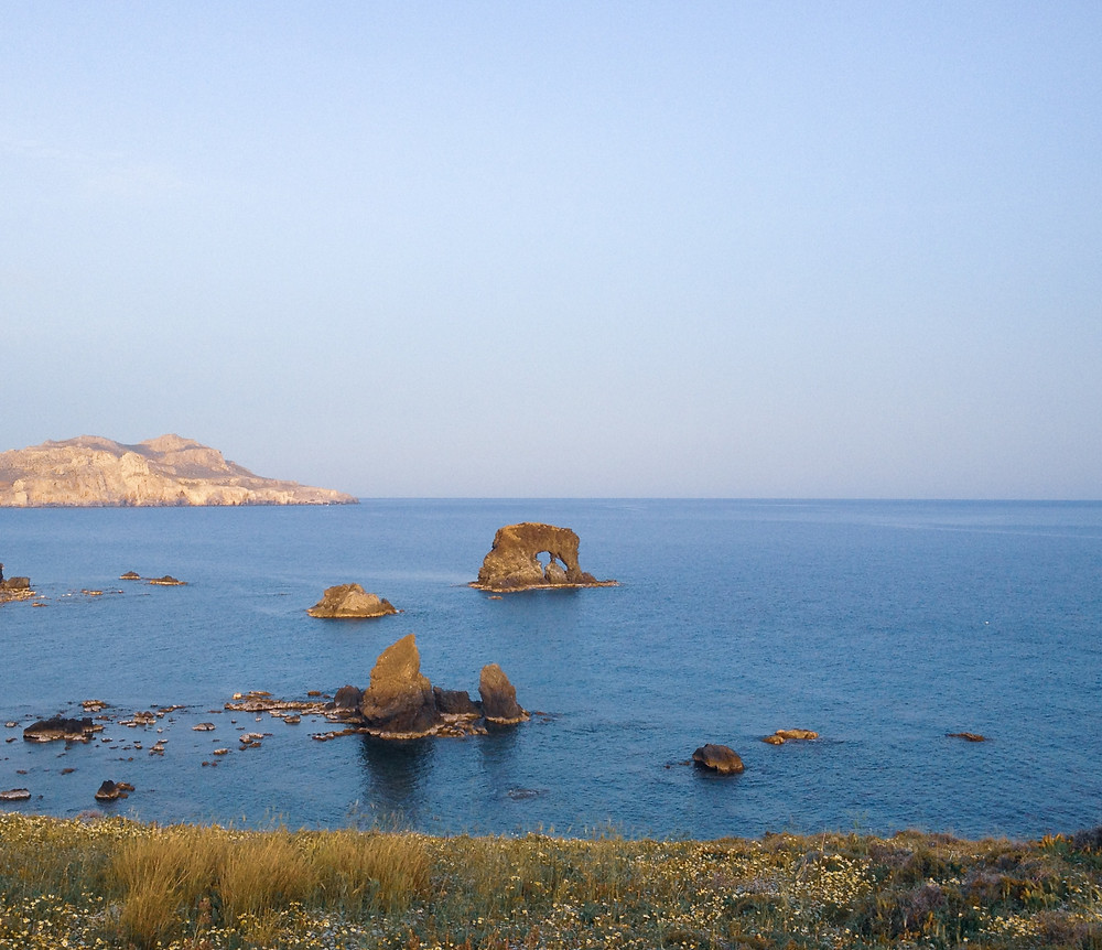 A beach east of the village of Lentas, where an ancient Greek temple of Asclepius wxisted, and the place is believed to be a healing one