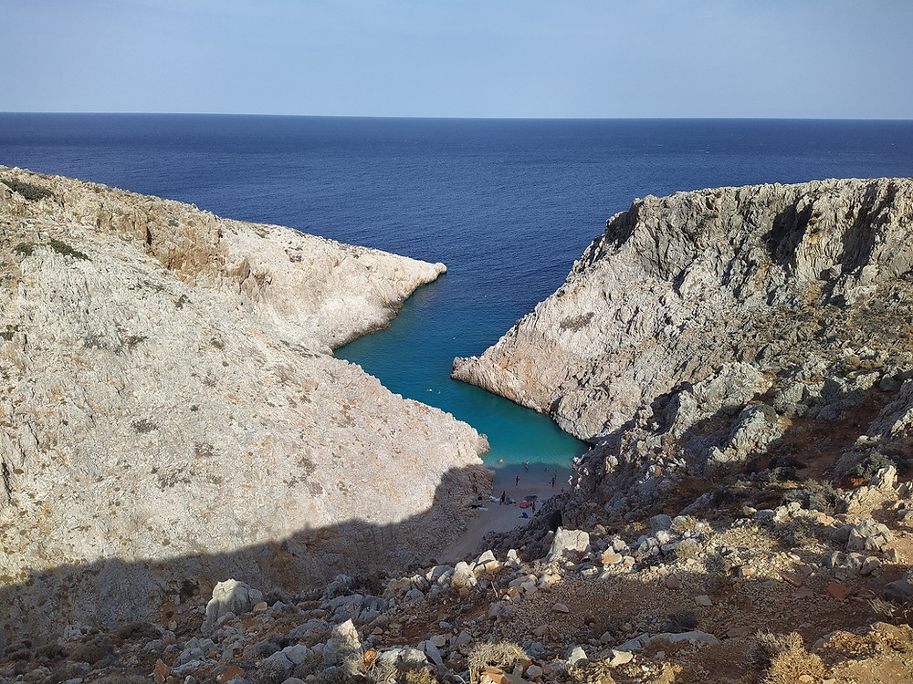A view to the, like a small fiord, inlet Seitan Limania is a popular beach in Akrotiri area, near Chania, Crete, Greece.