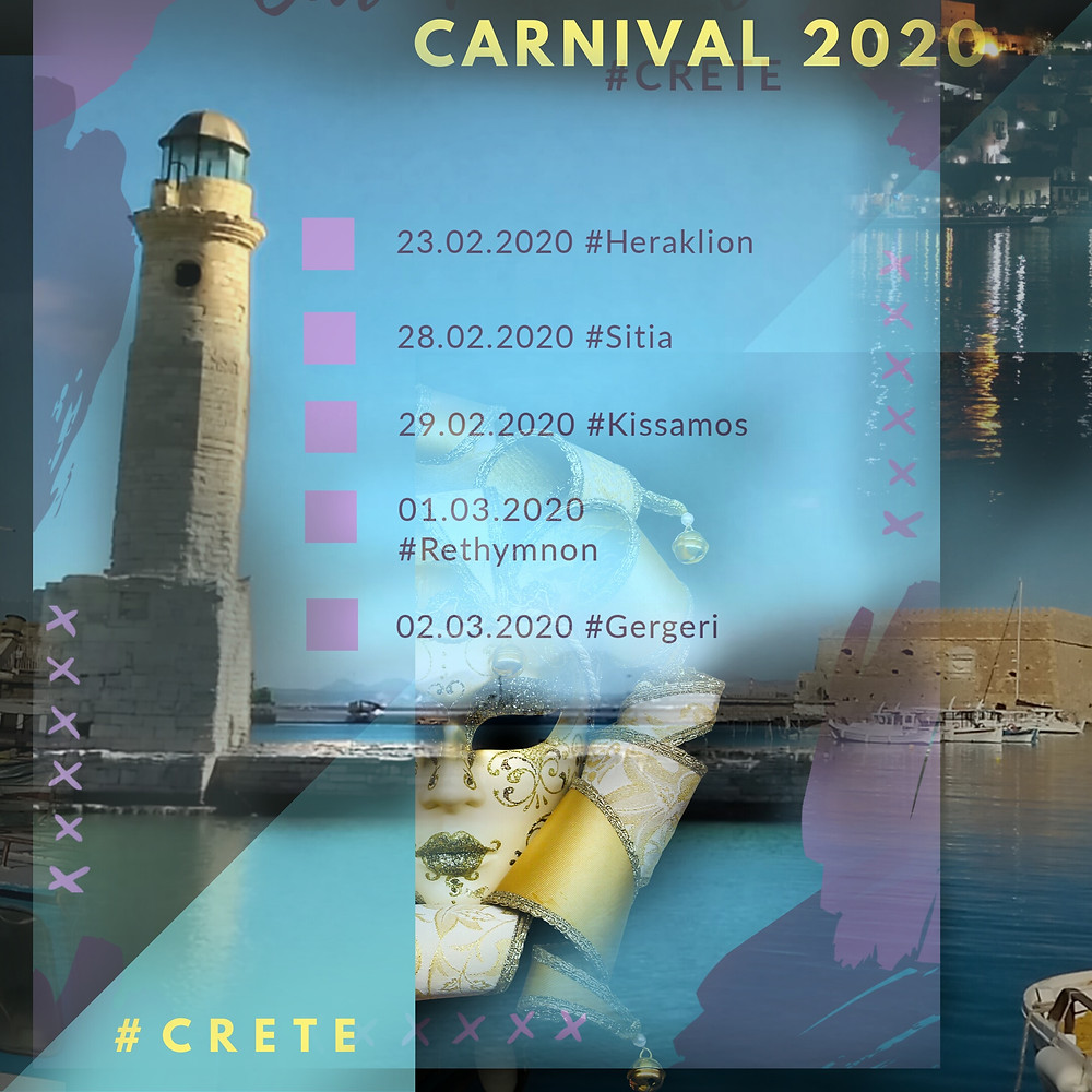 Infographic with our proposed top 5 of events for Carnival 2020 in Crete