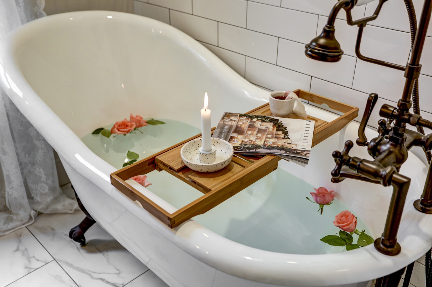 Soaking Tub with Candle