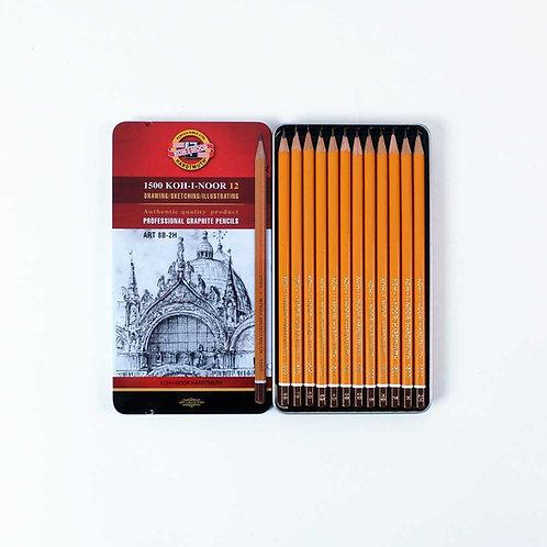 Crayons graphite - boîte de 12 -du 2H au 8B