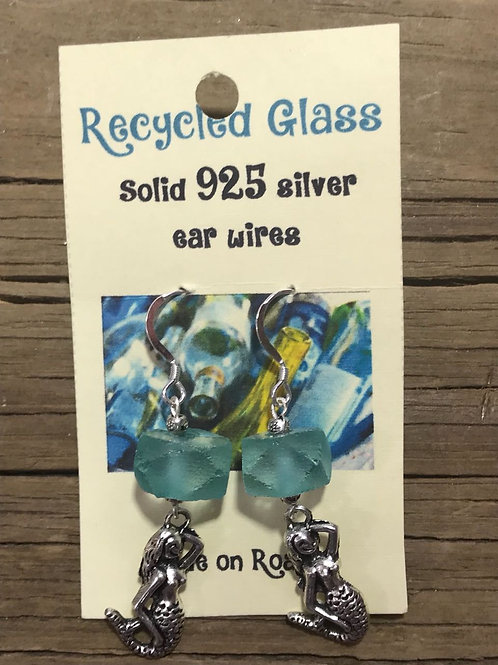 Recycled Glass Earrings (with pewter charm) #3