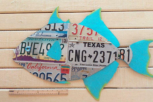 License Plate trigger Fish #9 (2.5 ft long)