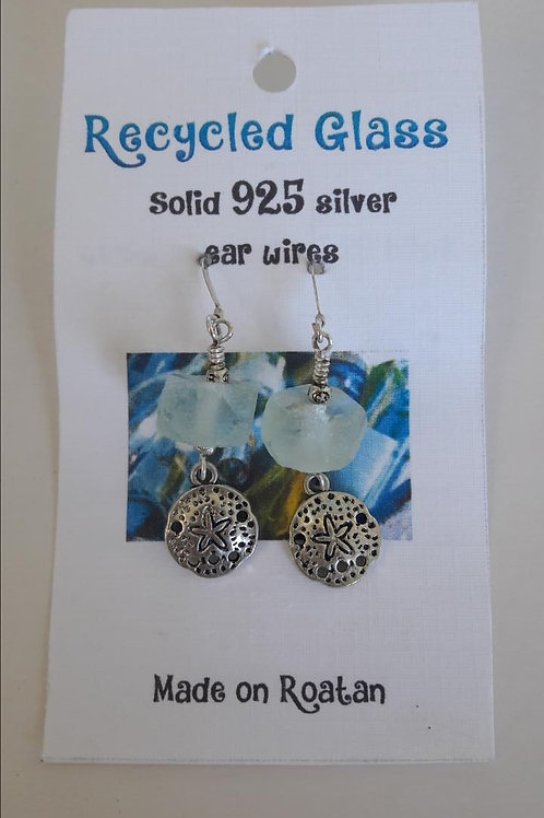 Recycled Glass Earrings (with pewter charm)