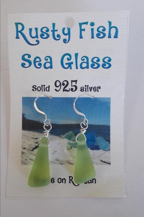 Sea Glass Earrings (Apple Green)