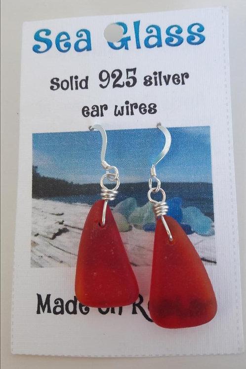 Sea Glass Earrings (Ruby)