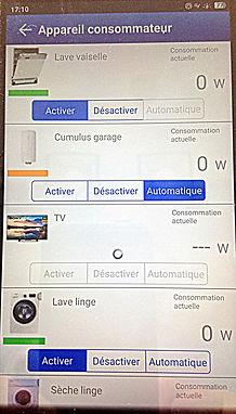 Home Manager vue d'ensemble des appareils consommateurs sur un smartphone