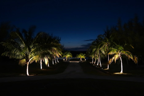 The majestic driveway at night