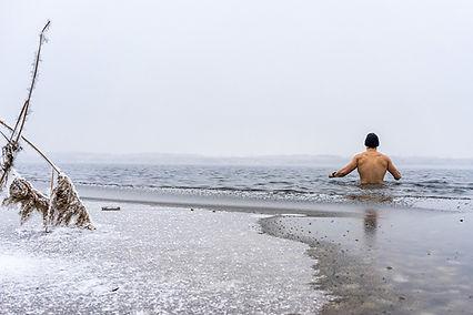 Bain lac léman tummo bain froid hiver