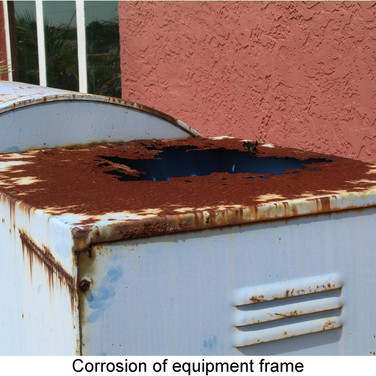 Lack of maintenance caused equipment housing to rust out.
